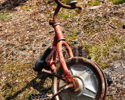 Ein rotes Dreirad steht verrostet auf einem alten Fundament, das mit Moos zugewachsen ist. Das Dreirad hat nur noch ein Rad und war in der Vergangenheit ein guter Gefährte, heute ist es nur noch ein vergessener Haufen Schrott.